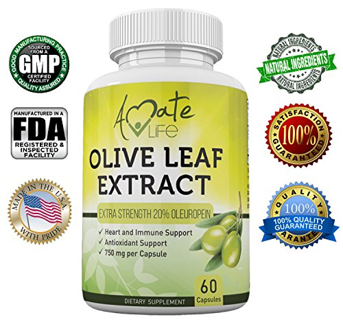 Amate Life Olive Leaf Extract Capsules 750mg – Antioxidant Supplement for Cardiovascular, Blood Pressure & Heart Health – Immune System Booster for Men & Women – 20% Oleuropein – 60 Capsules
