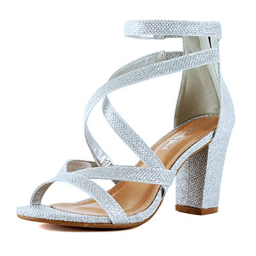 Womens Comfortable Strappy Chunky Block Ankle Strap Open Toe Heeled Sandals (7.5 M US, Silver Glitter)