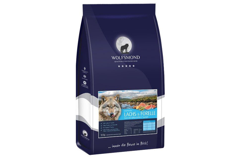 Wolfsmond Premiumfutter mit 50% Schottischer Lachs & Forelle mit Süßkartoffeln & Spargel