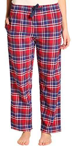 EVERDREAM Sleepwear Womens Flannel Pajama Pants, Long 100% Cotton Pj Bottoms,Size XX-Large Red - Long Lightweight 100% Cotton
