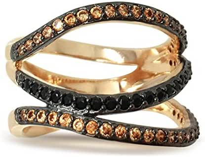 Sparkly Bride 3-row Black Chocolate CZ Gold Plated Wide Band Women Fashion Statement Ring