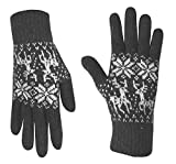 Peach Couture Classic Cable Knit Plush Fleece Lined Double Layer Winter Gloves (One Size, Reindeer Grey)