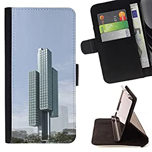 DEVIL CASE - FOR LG G2 D800 - Architecture Modern City Block - Style PU Leather Case Wallet Flip Stand Flap Closure Cover