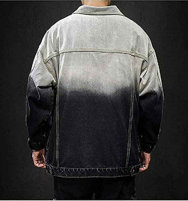 sanuo Men Gradients Cardigan Juniors' Relaxed-Fit Jean Jacket Coat: Odzież