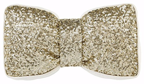 Ashley Furniture Signature Design - Kadyn Festive Sequined Bow Throw Pillow - Sequined Cotton Cover - Gen Now - Gold