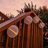 """Strand of 20 Warm White LED Connectable Plug-in Water Resistant 6"""" Jumbo White Lantern String Lights with Auto Timer"""