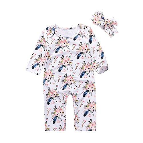 Floral Long Sleeve Onesie (Unmega Baby Boy Girl Floral Romper Deer Jumpsuit Long Sleeve Onesies Bodysuit with Headband (70/0-6 months, Flower))