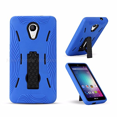 BLU Advance 5.5 HD Case, {NFW} Premium Rugged Tough Hybrid Dual Layer Heavy Duty Kickstand Case Cover for BLU Advance 5.5 HD (A070U)(HVD Blue)