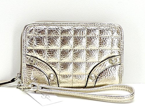 Simpson 6 Inch Trim (Jessica Simpson Erin Carlyle Small Wallet Wristlet Gold Metallic Zip Clutch)