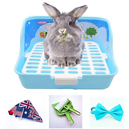 RUBYHOME Small Animal Potty Trainer Corner Litter Bedding Box Pet Pan for Small Animal/Rabbit/Guinea Pig/galesaur/Ferrets (Blue)