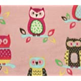 Fleece Fabric Printed ANTI PILL HANGING COUPLE OWLS PINK BACKGROUND