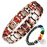 99.9% Pure Copper Magnetic Therapy Bracelet Jewelry Double Row 4in1 Bio Elements Arthritis Pain Relief Benefits + Hematite Beads Wristband Bonus
