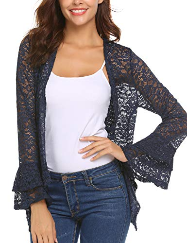 - Deawell Woman Lace Beach Cover Up See Through Bell Sleeve Loose Cardigan Plus Size (Navy Blue, M)