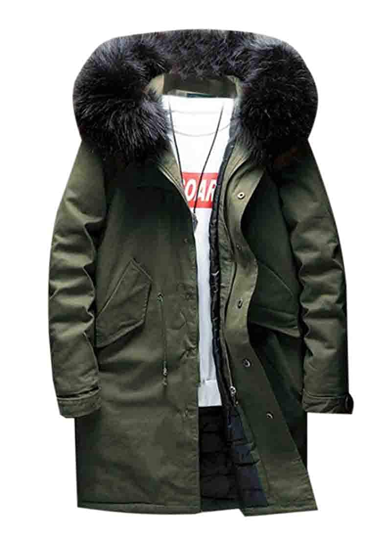 XiaoTianXinMen XTX Mens Quilted Faux Fur Stand Collar Thicken Hooded Long Down Jacket