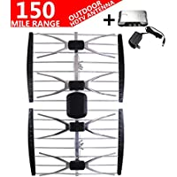 AntennaMastsRus -THE ORIGINAL 150 MILE 4 ELEMENT HD TV/HDTV OUTDOOR MULTI DIRECTIONAL ANTENNA VHF/UHF + 13dB POWERED AMPLIFIER BOOSTER