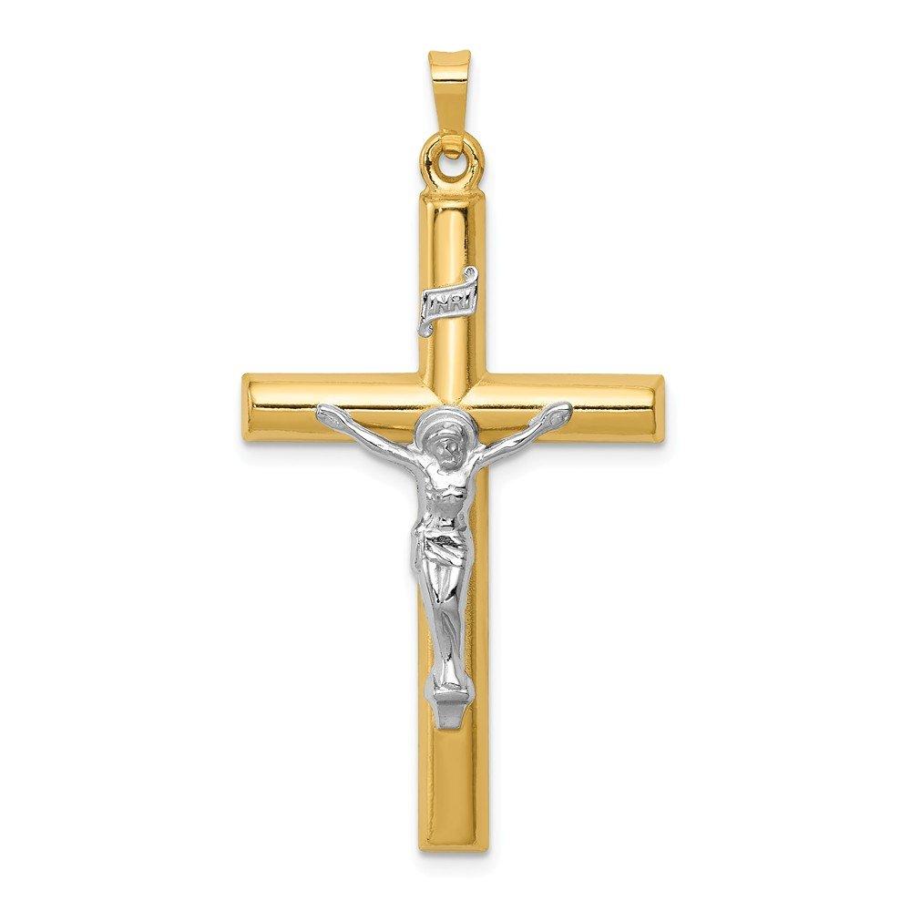 Mia Diamonds 14k Gold Two-tone INRI Hollow Crucifix Pendant
