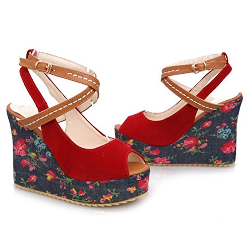 RAZAMAZA Mujer Comodo Floral Tacon de Cuna Sandalias Cruzado Correas Peep Toe Fiesta Sandalias Rojo