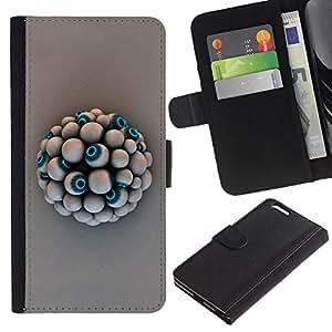 Billetera de Cuero Caso del tirón Titular de la tarjeta Carcasa Funda del zurriago para Apple Iphone 6 PLUS 5.5 / Business Style Eye Ball