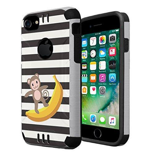 iPhone 7 Case, iPhone 6s Case, iPhone 6 Case, Capsule-Case Hybrid Dual Layer Slim Defender Armor Combat Case (Silver & Black) for iPhone 7/iPhone 6S/iPhone 6 - (Monkey - Monkey Apples