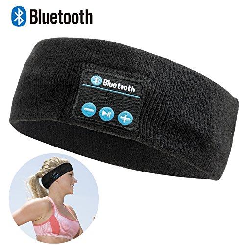 Bluetooth Music Sports Headband - Lavince Wireless Bluetooth Stereo Headband Headphones Headset Earbuds for Sport Running Yoga Sleeping Black