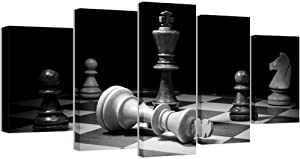 Welmeco Large 5 Pieces Wall Decor Closeup of Checkmate Wooden Chess King Knight Picture Vintage Canvas Prints for Living Room Office Game Room Decor L-60 x H-32 (02 Black White)