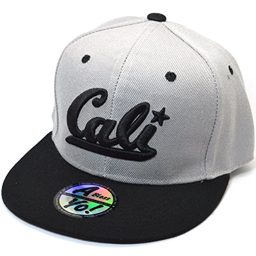 Embroidered Fitted Cap - AblessYo Cali 3D Embroidered Fitted Hats Closed Back Flat Bill Snapback Cap AYO4309 (Small 6 3/4~6 7/8)