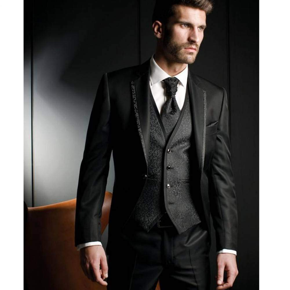 GFRBJK Black Harringbone Wedding Men Trajes de Tres Piezas Novios ...