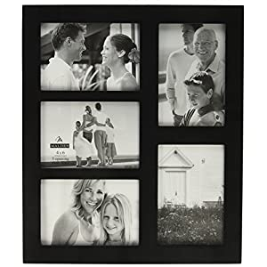 Malden 4x6 5-Opening Collage Picture Frame - Displays Five 4x6 Pictures - Black