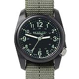 Bertucci 11040 DX3 Plus Resin Dash-Striped Drab Green Nylon Strap Black Dial Watch
