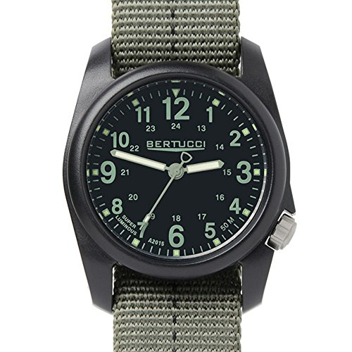 - Bertucci 11040 DX3 Plus Resin Dash-Striped Drab Green Nylon Strap Black Dial Watch
