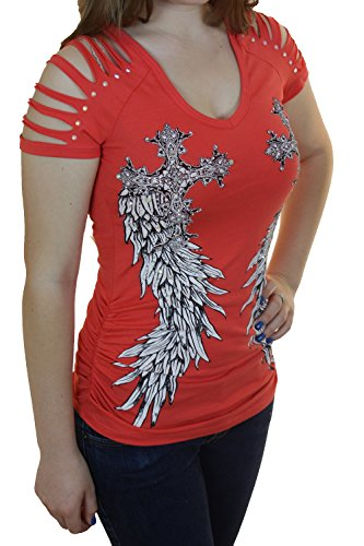 Bling Rhinestone Tattoo Cross Rose Wings Peekaboo Cutout Shoulders New Top (Small, Coral Short Razer Cut Sleeve Side Cross)