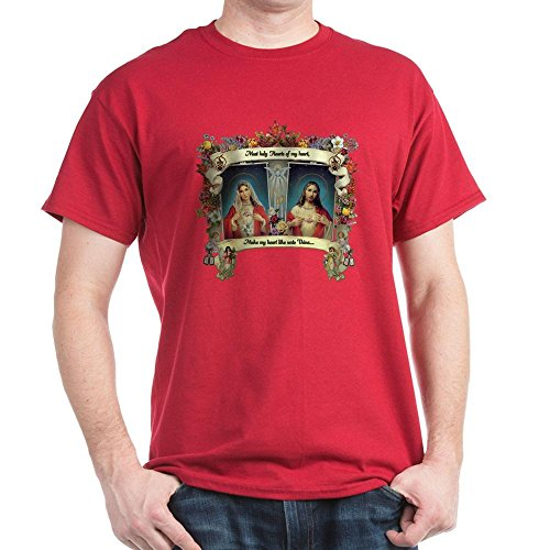 CafePress Sacred and Immaculate Hearts T-Shirt 100% Cotton T-Shirt - Heart Designs Sacred