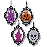 Wooden Halloween Decorations Pack of 4; Glittery Hanging Decorations Designs featuring Pumpkin, Haunted House, Witch & Skeleton