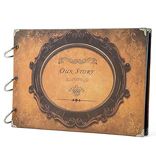 SiCoHome Scrapbook Album 10.5x7.5inch Our Story Round with S