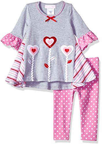 Bonnie Baby Baby Girls Heart Appliqued Dress and Legging Set, Flowers, 24M