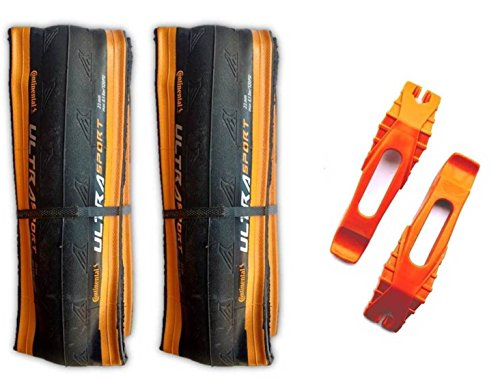 Continental Ultra Sport II 700x23c Road Bike Folding Tire COMBO (2 Tires, 2 Tire Levers) (Black / Orange)
