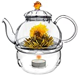 tea light teapot - Glass Teapot with Tea Warmer Lead Free Special Glass No Drip by Tea Beyond (Amber+Glass warmer, 20 oz)