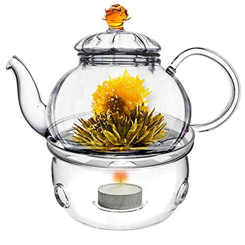 (Glass Teapot with Tea Warmer Lead Free Special Glass No Drip by Tea Beyond (Amber+Glass warmer, 20 oz) )