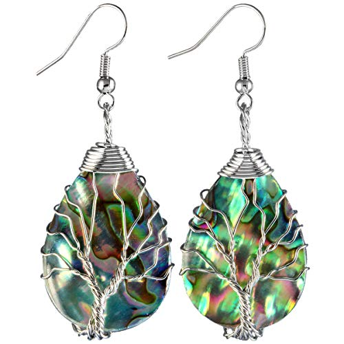 (TUMBEELLUWA Tree of Life Dangle Earrings Abalone Shell Handmade Wire Wrapped Hook Drop Earring Stone Jewelry,Silver Color,Drop Shape)