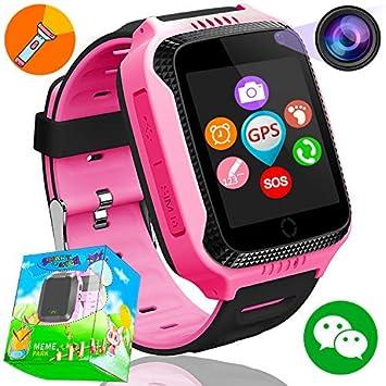 GPS Tracker Smartwatch Inteligente Relojes para Niños Niñas con cámara de Podómetro con Pantalla Táctil Llamadas SIM Anti-perdida SOS Regalos de ...