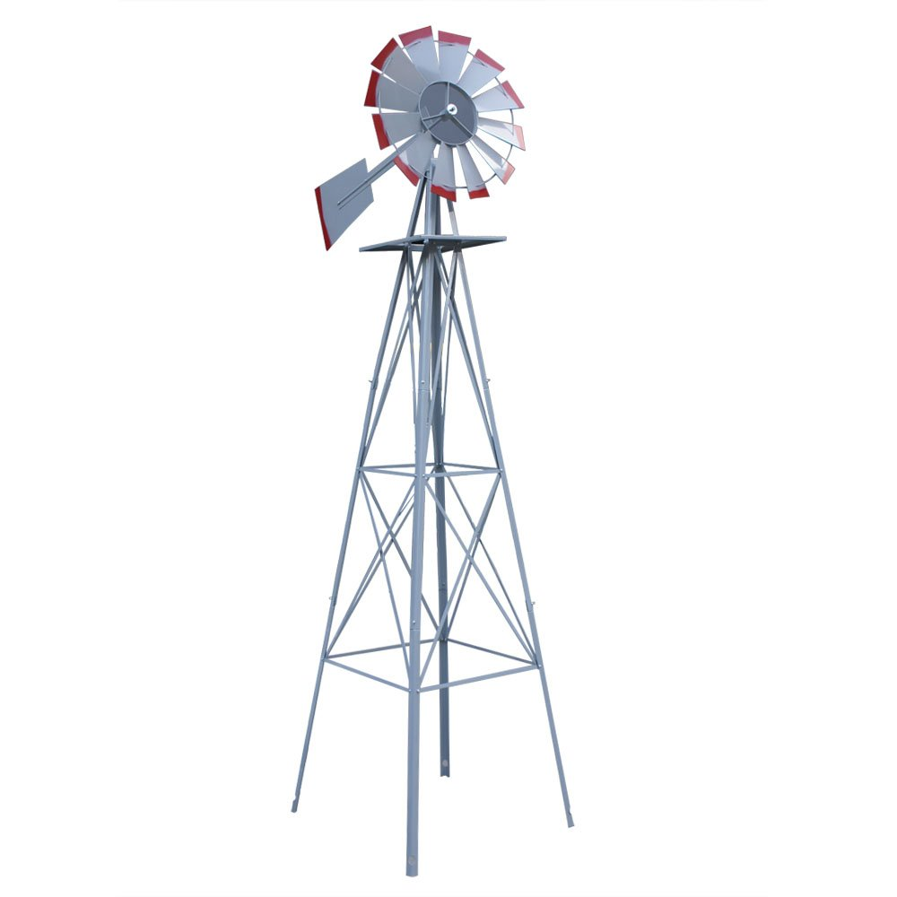 Super Deal 8' Iron Windmill Ornamental Garden Weather Resistant Weather Vane (Silver)