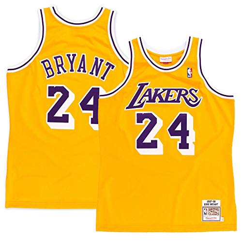 - Majestic Athletic Men's Los Angeles Lakers #24 Kobe Bryant 2008 Authentic Jersey-Gold (M)