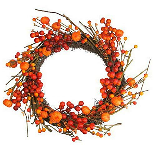 - Mikash Red and Orange Fall Berry and Mini Pumpkin Artificial Thanksgiving Wreath - 20 | Model WRTH - 53