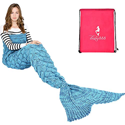 "Handmade Mermaid Tail Blanket Crochet , T-tviva All Seasons Warm Knitted Bed Blanket Sofa Quilt Living Room Sleeping Bag for Kids and Adults(72.8""x35.5"", Fish-scales Peacock Blue1)"