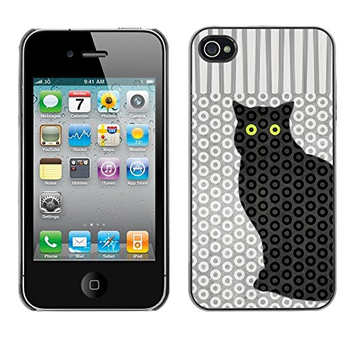 Soft Silicone Rubber Case Hard Cover Protective Accessory Compatible with Apple iPhone? 4 & 4S - cat polka dot trippy pattern eyes