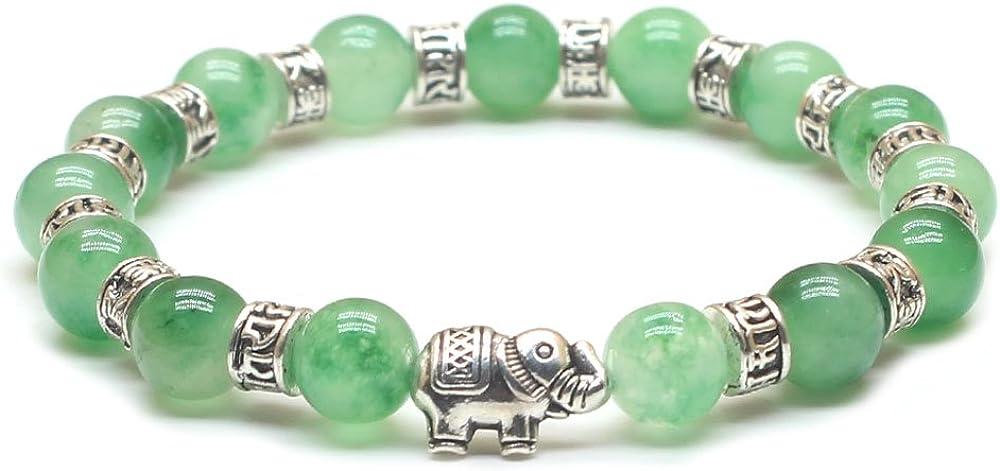Weelovee Handcraft Nature Stone 8mm Beads Bracelet for Women Mens Healing Buddha Buddhist Chakra Yoga Meditation Link