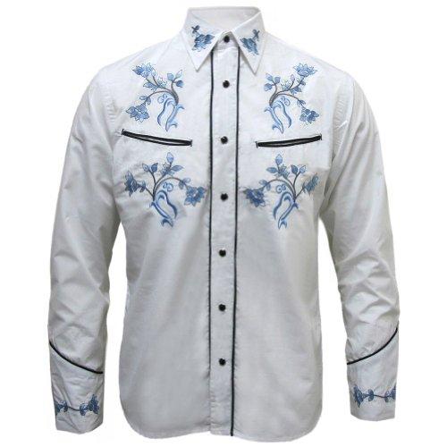Camicia uomo stile rockabilly - motivo floreale azzurro - bianco