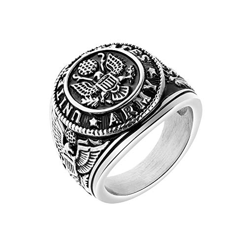 TEMICO Men's Stainless Steel Domineering Vintage United States Army Military Ring Gold/Silver Color ()