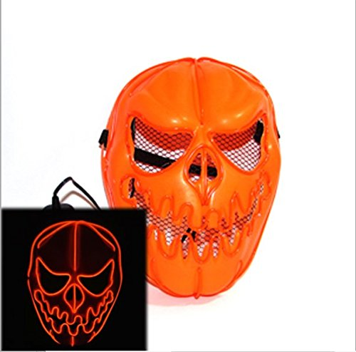 QUEENSAID 2017 High-grade 3V Sound Activated Orange Halloween Pumpkin faces Mask EL wire Glowing Flexible LED Neon light For Carnival Party Decoration]()