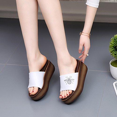 Slippers MEIDUO, Black/white summer female Fashion sandals (heel:6cm) Comfortable White